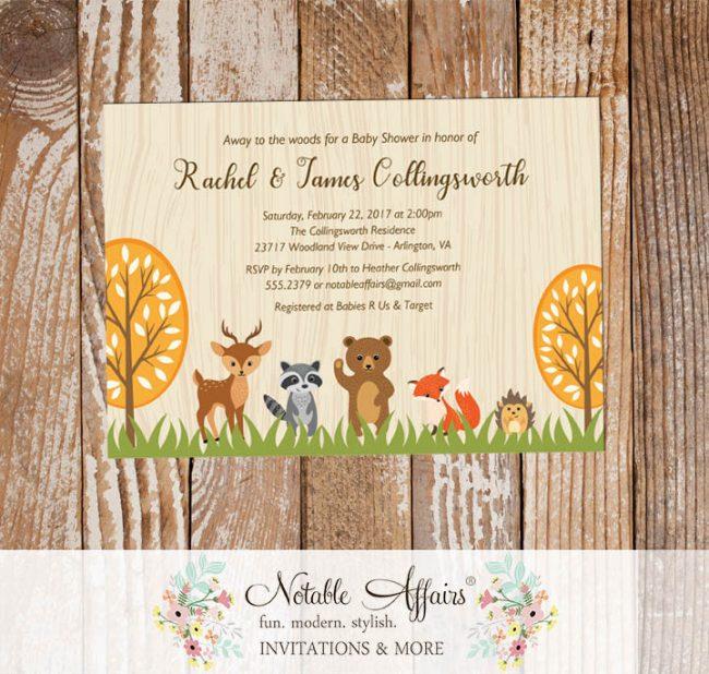 Rustic Woodland Animals Horizontal Baby Shower invitation