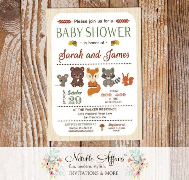 Rustic Woodland Animals Vertical Baby Shower invitation