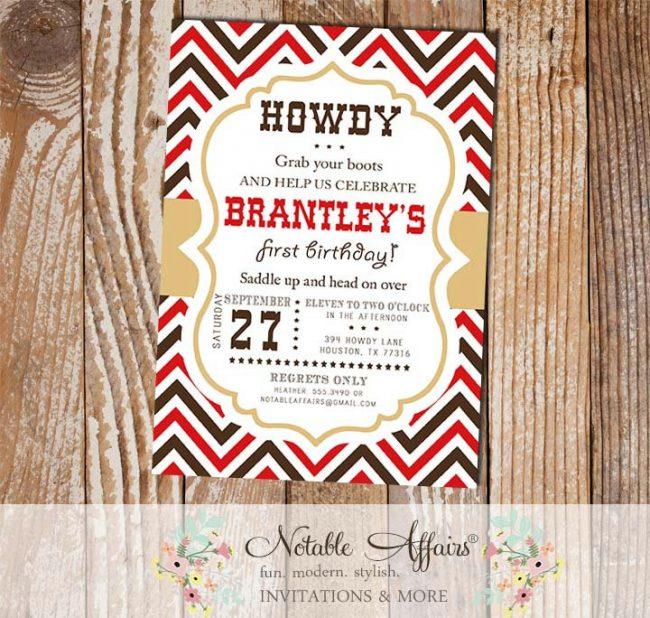 Saddle Up Cowboy Cowgirl Birthday Party invitation
