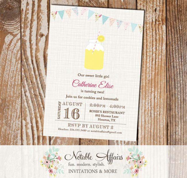 Shabby Chic Bunting Rustic Lemonade Birthday Invitation on brown linen