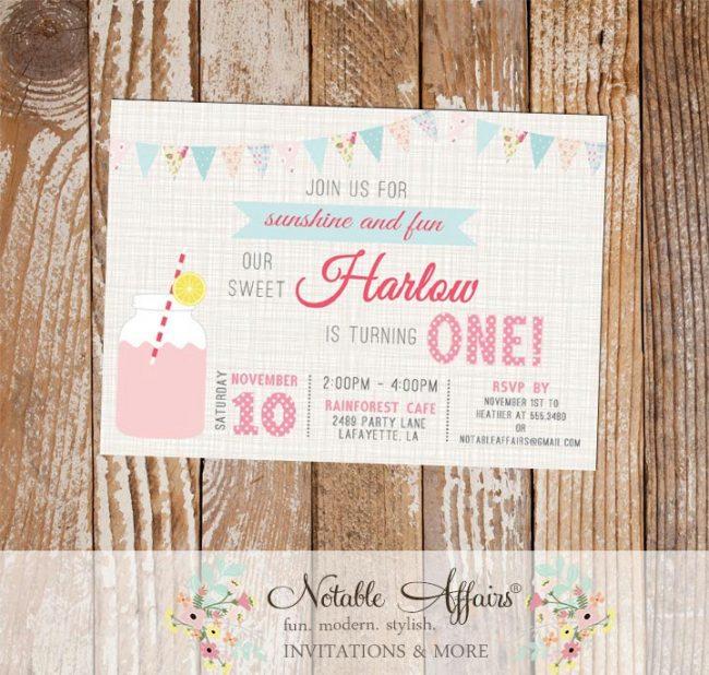 Shabby Chic Bunting Rustic Pink Lemonade Birthday Invitation on brown linen
