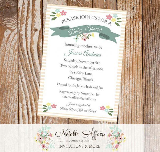 Shabby Chic Modern Elegant Classy Floral Rustic Baby Shower Bridal Shower Invitation
