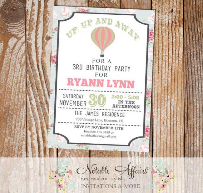Shabby Chic Rustic Hot Air Balloon Birthday invitation