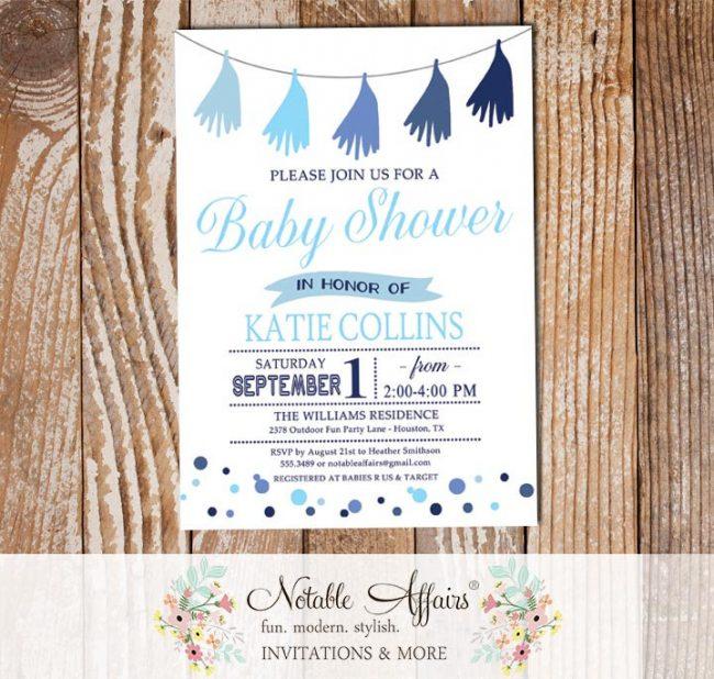 Shades of Blue Tassel Confetti Dots Sprinkles Baby Shower invitation