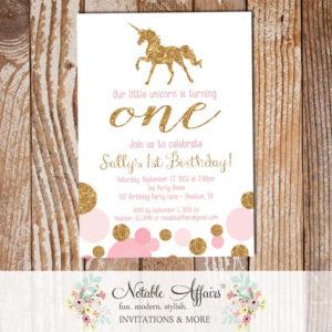 Shades of Pink and Gold glitter unicorn pastel rainbow invitation