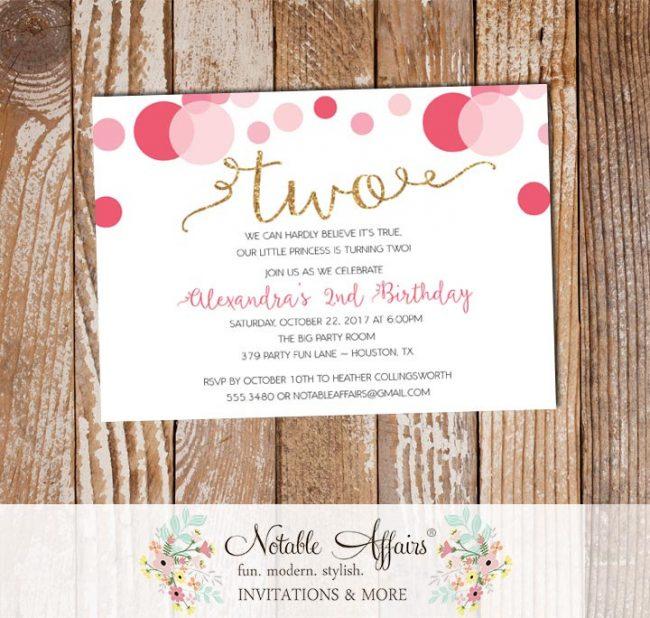 Shades of Pink Confetti Dots Sprinkles Second Birthday Invitation