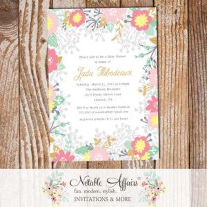 Shades of Pink Elegant Flowers Baby Shower invitation