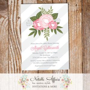 Shades of Pink Flower Posie Modern Floral Baby Shower invitation