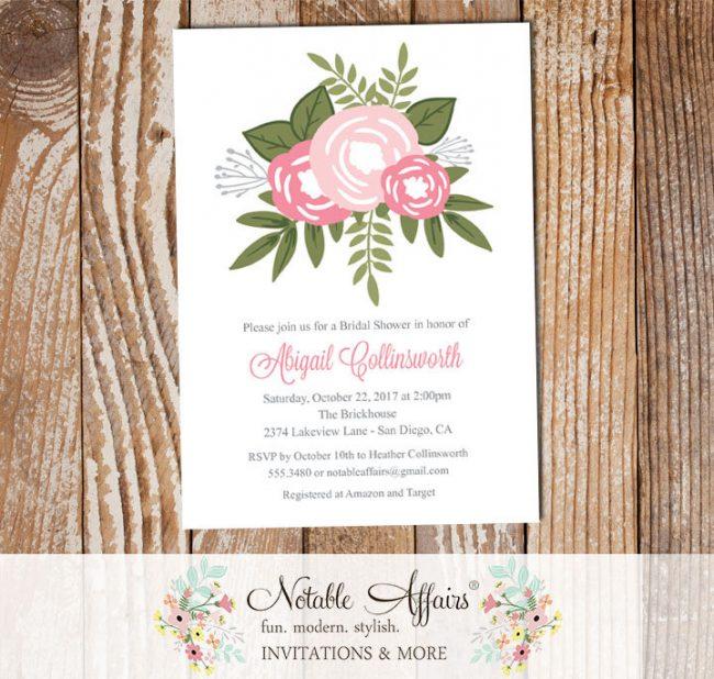 Shades of Pink Flower Posie Modern Floral Bridal Shower invitation