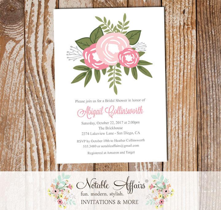 Shades of pink flower posie modern floral bridal shower invitation shades of pink flower posie modern floral bridal shower invitation filmwisefo