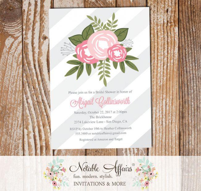 Shades of Pink Flower Posie Modern Floral Bridal Shower invitation on Diagonal Stripes