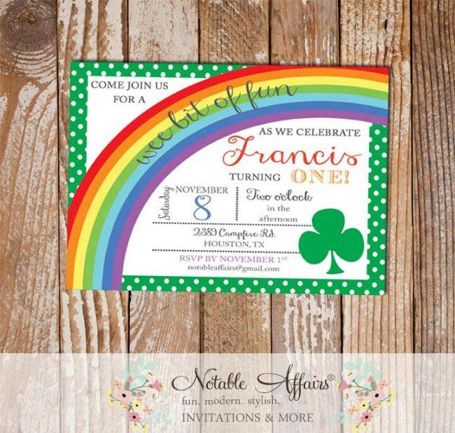Shamrock Rainbow St Patricks Day Birthday Party with Polka Dots