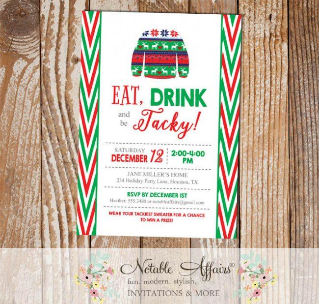 Side Chevron Tacky Sweater Christmas Party Invitation