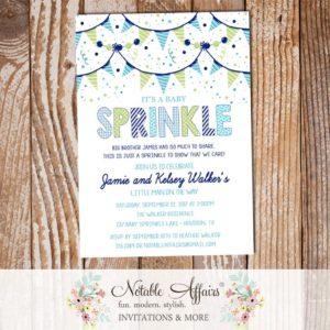 Boy Blues Greens Baby Sprinkle Confetti Bunting Invitation - Notable Affairs