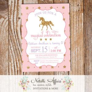 Stars Light Pink gold glitter unicorn invitation