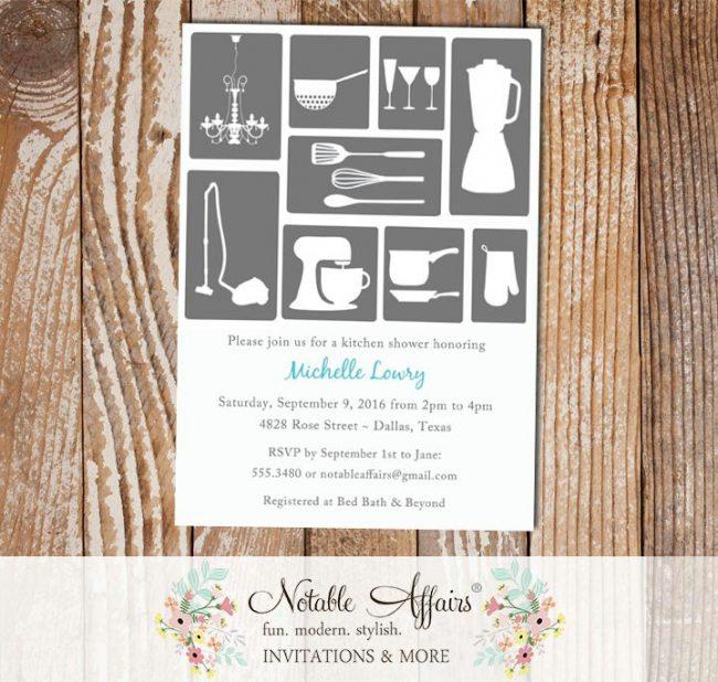 Stock the Kitchen Housewarming Wedding Appliances Bridal Shower Invitation