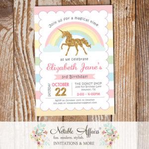 Stripes gold glitter unicorn pastel rainbow invitation