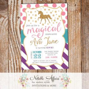 Stripes Polka Dots Gold glitter unicorn pastel rainbow invitation