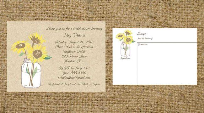 Sunflowers Mason Jar Rustic Vintage Bridal Wedding Housewarming Invitation and recipe card on Kraft background