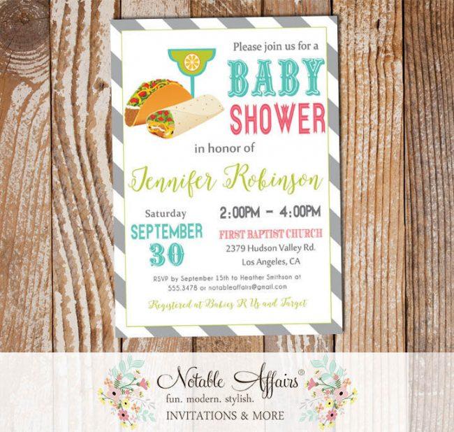 Taco Margarita Diagonal Stripes Mexican Fiesta Baby Shower invitation
