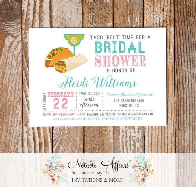 Taco Margarita Party Mexican Fiesta Bridal Shower invitation