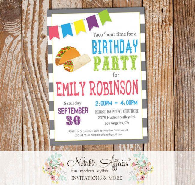 Taco Party Diagonal Stripes Mexican Fiesta Bunting Birthday invitation