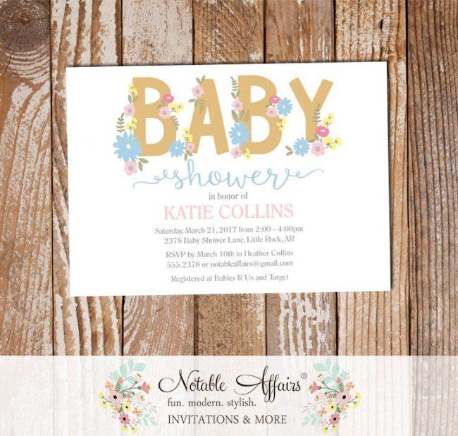 Tan Gold Pink Blue Flowers Gender Neutral Modern Baby Shower invitation