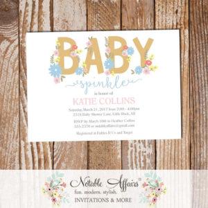 Tan Gold Pink Blue Flowers Gender Neutral Modern Baby Sprinkle invitation