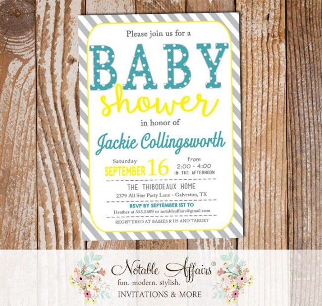 Teal Yellow Gray Modern Diagonal Stripes Polka Dots Gender Neutral Baby Shower invitation