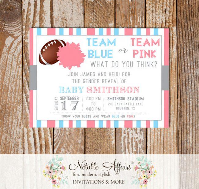 Team Blue or Pink Gender Reveal Football Invitation Pink vs Blue pom pom football