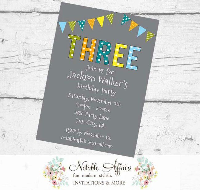 THREE 3rd Birthday Party Polka Dots Stripes Invitation