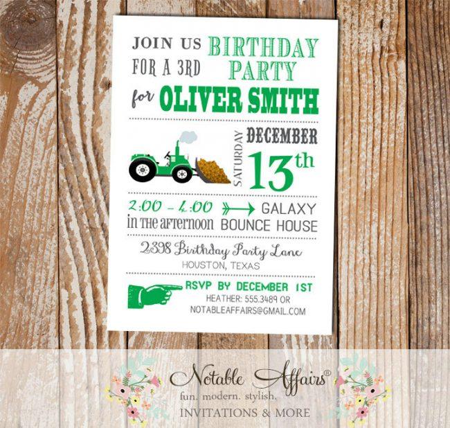 Tractor Dirt Bulldozer Green Modern Birthday Party Invitation