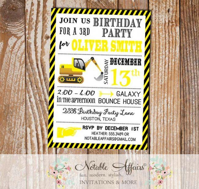 Tractor Dirt Bulldozer Yellow Black White Construction Stripes Modern Birthday Party Invitation