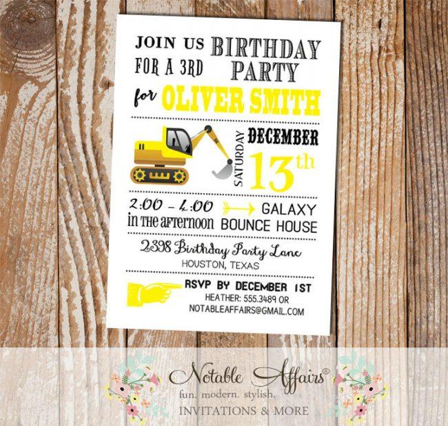 Tractor Dirt Bulldozer Yellow Black White Modern Birthday Party Invitation