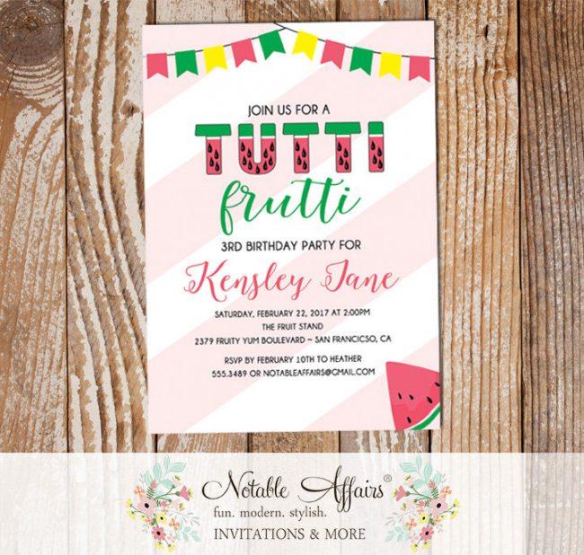 Tutti Frutti Fruit birthday invitation