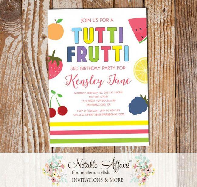 Tutti Frutti Fruit birthday party invitation