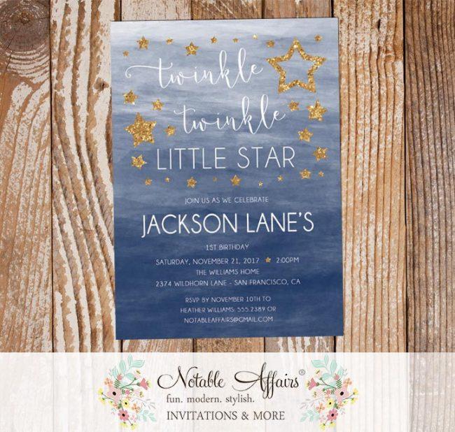 Twinkle Twinkle Little Star Watercolor Ombre Background Dark Blue Gold Birthday Invitation