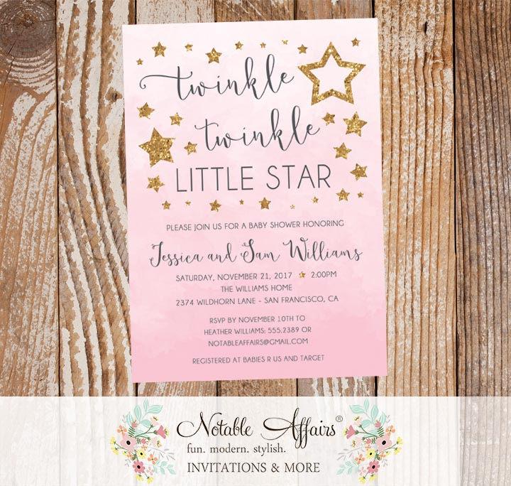 Twinkle twinkle little star watercolor ombre background pink and twinkle twinkle little star watercolor ombre background pink and gold baby shower invitation filmwisefo
