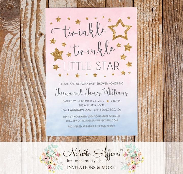 twinkle twinkle little star watercolor ombre gender neutral pink
