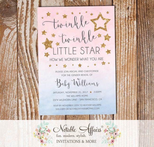 Twinkle Twinkle Little Star Watercolor Ombre Gender Neutral Pink Blue Gold Gender Reveal Invitation