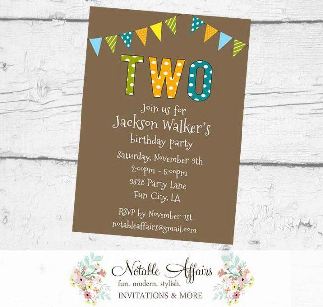 TWO 2nd Birthday Party Polka Dots Stripes Invitation