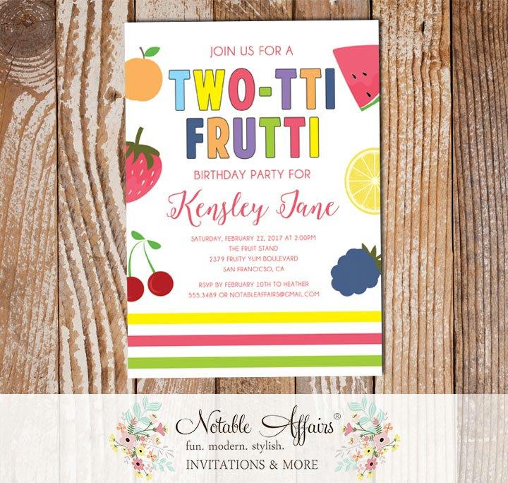 Twotti Frutti Fruit 2nd Birthday Party Invitation