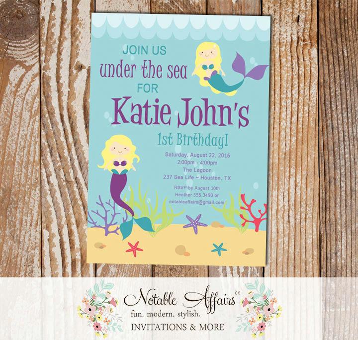 96 Little Mermaid 1st Birthday Invitations