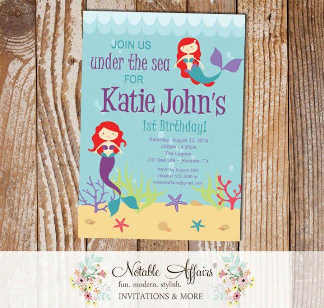 Under the Sea Aquarium Red Little Mermaid Birthday Invitation