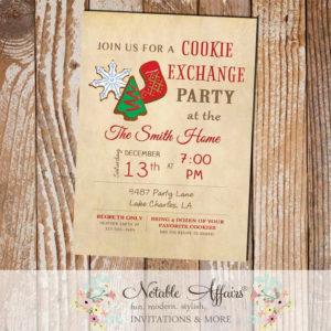 Vintage Christmas Cookie Exchange Party Invitation