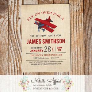 Vintage Dark Red and Light Navy Airplane brown linen Baby Shower or Birthday invitation