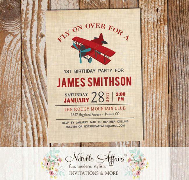 Vintage Dark Red and Teal Airplane brown linen Birthday invitation