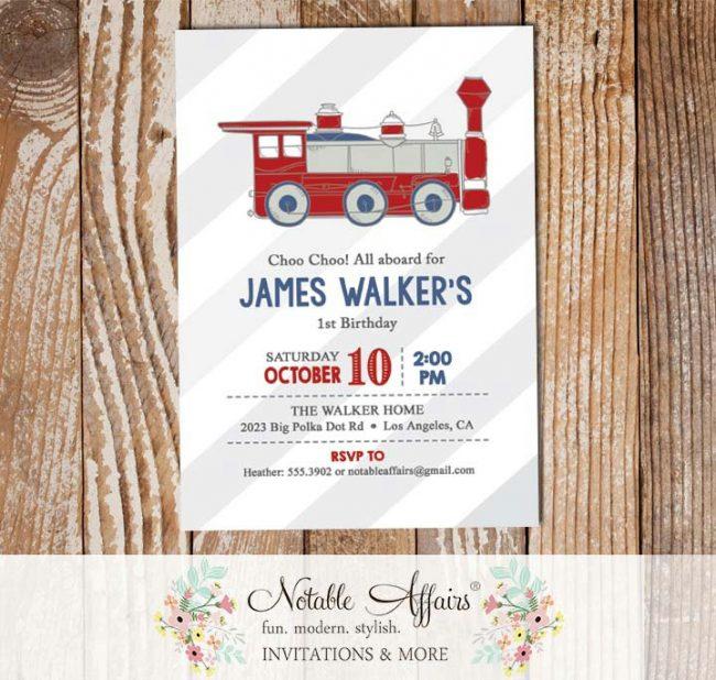 Vintage Dark Red Light Navy Antique Train Birthday party or Baby Shower invitation gray stripes