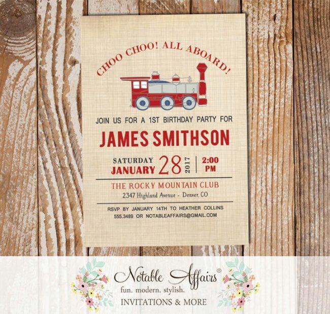 Vintage Dark Red Light Navy Antique Train Birthday party or Baby Shower invitation on brown linen