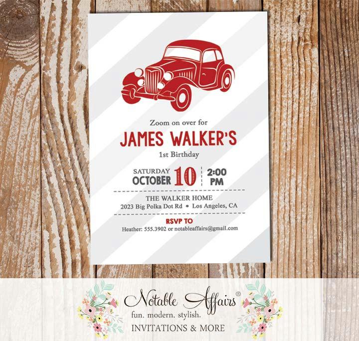 Vintage Dark Red Vroom Vroom Antique Car Birthday Party Baby Shower Invitation Gray Stripes